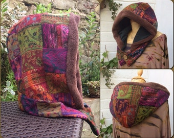 Patch Work Cozy Pixie Hood, Snood