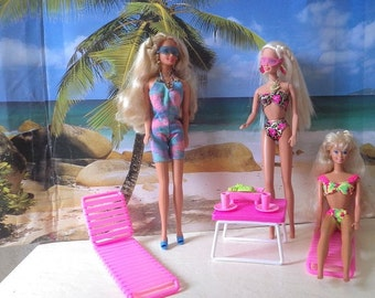 Three Barbie Beauties on vaction in Hawaii, 1980s and 90s.