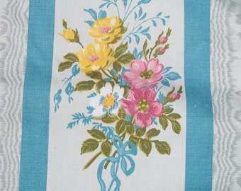 Antique Vintage French 1920's Ticking Fabric Satin Cotton Floral bows sky blue stripe