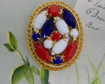 Gold Oval Patriotic AMERICANA Brooch or Pin in  Red White Blue    NCY5