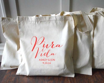 10+ Pura Vida Costa Rica Custom Canvas Wedding Tote Bags - Eco-Friendly Natural Cotton Canvas