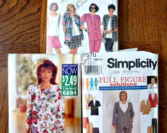 7 Plus Size Sewing Patterns Bundle  Bargain Patterns 1960's to 1990's Simplicity, See & Sew Multi-size 18 to 32W Lot A