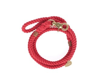 Marine-Grade Dog Rope Lead in Red