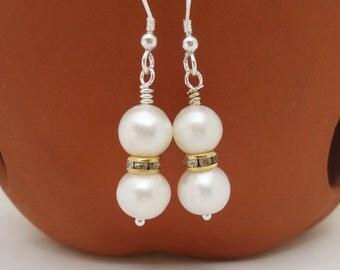 Pearls Earrings, Bridal Pearls Earrings, Elegant Pearls Earrings