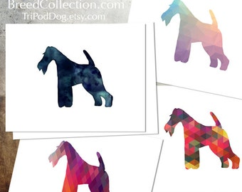 Wire Fox Terrier - Dog  Silhouette Note Card Collection -  Digital Download Printable