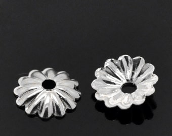 100 pcs Silver Plated Flower Bead Caps Covers - 6mm - Made of Copper!