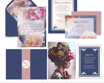 Floral Peonies and Iris. Floral Botanical Wedding invitation suite. Invitation sample. Printing service available.