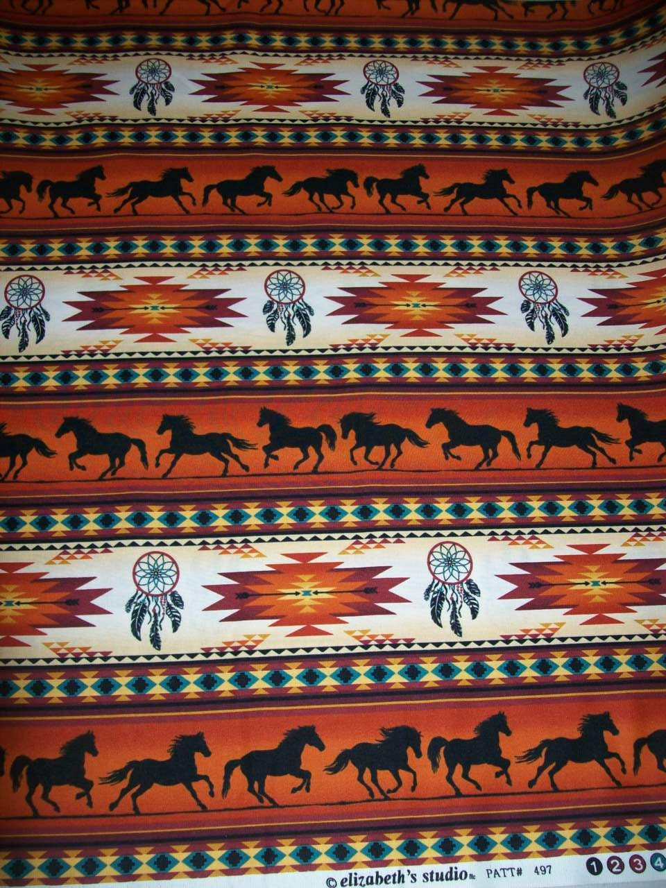 Brick Color Tribal Print Fabric by the Yard Designed for