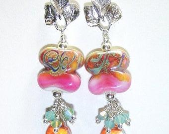 JBB Fine Silver Organic Double Helix Artisan Earrings