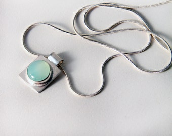 hand crafted sterling silver and aqua chalcedony pendant