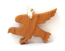 Flying Eagle Pendant Necklace Scroll Saw Wood Animal Totem Pendant Cherry Hand Cut Scroll Saw