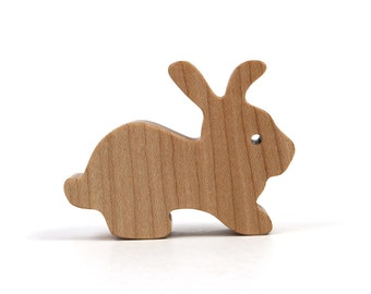 Wooden Toy Bunny Rabbit Waldorf Wood Toy Easter Decoration Small Toy Rabbit Miniature Bunny Figurine Maple
