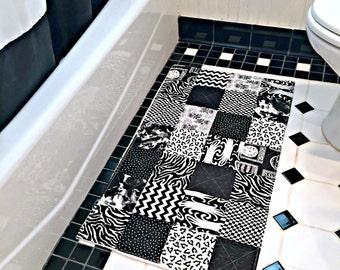 Black and White Bathroom Rug, Patchwork Bath Mat, Shower Mat, Laundry Room Rug, Nursery Rug, Dorm Room Rug, Kitchen Rug, Patchwork Rug