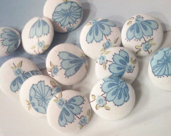 One Dozen Vintage Blue Flower Fabric Buttons 25 MM, Wedding Decor, Something Blue Button Bridal Embellishment