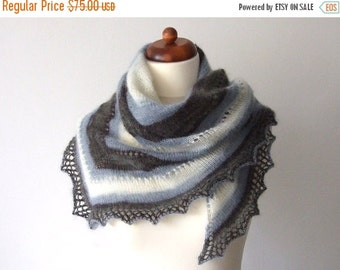 mohair scarf blue grey white warm winter shawl handknit triangle