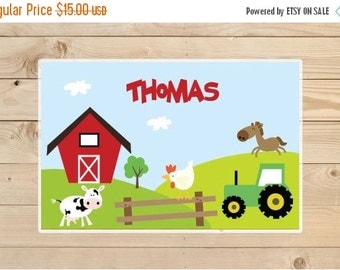 ON SALE Kids-Personalized-Placemat---Farm-Animals-Laminated-Placemat-for-Boys
