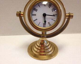Vintage Brass Ships Clock on Stand Made In India