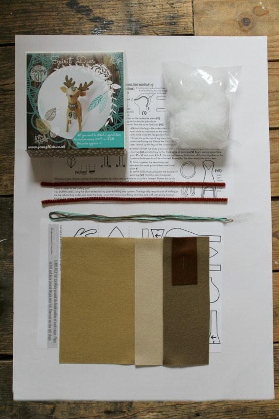 Diy Deer Kit Craft Kit Felt Animal Woodland Plush Home Decor Nursery Gift Decoration