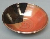 Flare Rim Red Black Copper Tri-Color Swirly Shallow Bowl