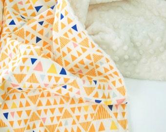 Triangle Baby Blanket, Minky Baby Blanket, Mojave Sand,  Personalized Baby Blanket, Toddler Blanket, Orange Baby blanket