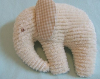 Stuffed Chenille Elephant, Ivory, Ears are tan ans white check