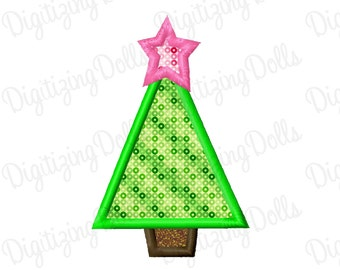 Christmas Tree Applique 2 Machine Embroidery Design 2x2 4x4 5x7 INSTANT DOWNLOAD