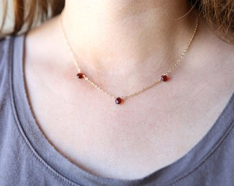 Blood Red Garnet Teardrop Trio Necklace // 14K Gold Filled // Sterling Silver // Rose Gold