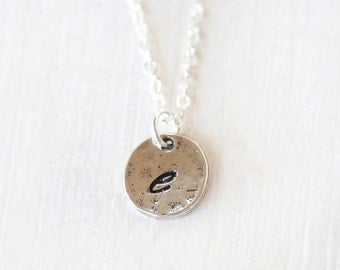 Personalized Textured Initial Monogram Engraved Tag Layering Necklace // Sterling Silver// Bridesmaid Gift Necklaces