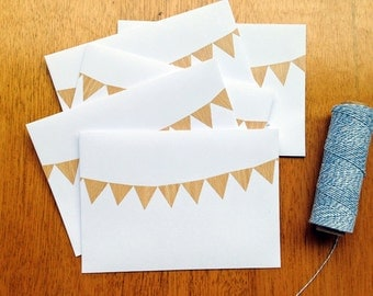 Bunting ENVELOPES, Woodgrain Bunting, White C6 envelopes, hand made snail mail envelopes, white envelopes with bunting, set 5, paper goods