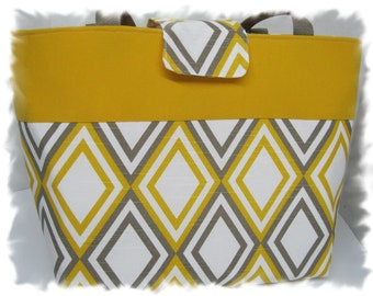 Grays and Yellow Diaper Bag/Purse/Tote -- Made and Ready to Ship