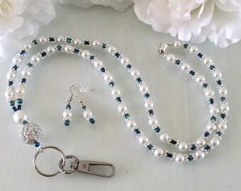 Beautiful White Glass Pearl and Blue Hematite ID Lanyard