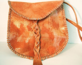 Coral boho bag. Coral hippie style bag. Braided satchel bag with fringes.