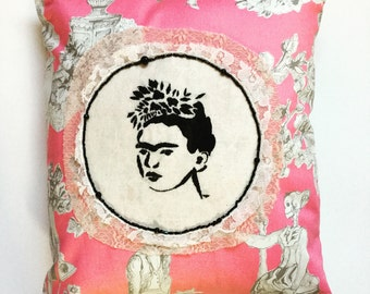 Embroidery Frida Kahlo Stencil Decorative Pillow