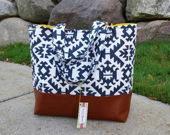 navy diaper bag,  Aztec Large diaper bag, leather tote bag, tribal bag, navy canvas with leather, overnight  bag,