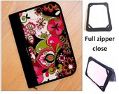 personalized HARD case - ipad case/ kindle case/ nook case/ others - full zipper close - pink flowers