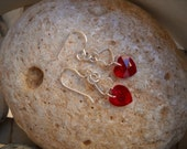 Siam Red Swarovski Heart and Silver Sweetheart Earrings