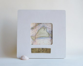 Martha's Vineyard Massachusetts Nautical Map Framed with Hand Stamped Date on Brass Vacation Hostess Gift