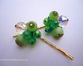 Vintage earrings hair clips - Sea mint light jade pea green beaded crystal cluster bauble fun jeweled embellish decorative hair accessories