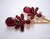 Prom Wedding rhinestone hair grips - Marsala deep red teardrop and marquise with clear rhinestones gold decorative jeweled hair accessories