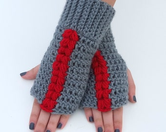Texting Gloves - Grey and Cherry Fingerless Mittens - Grey and Cherry Fingerless Gloves