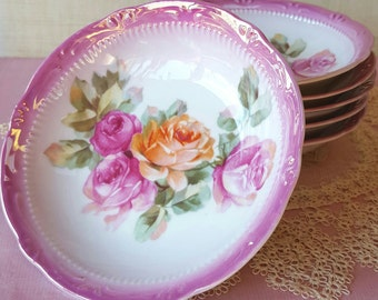 6 Pink Cottage Rose Berry Bowls, Transferware Porcelain China, Germany Vintage