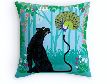 "The Peacock and The Panther - Throw Pillow / Cushion Cover - Children's Decor - Nursery Decor - (16"" x 16"") by Oliver Lake iOTA iLLUSTRATION"