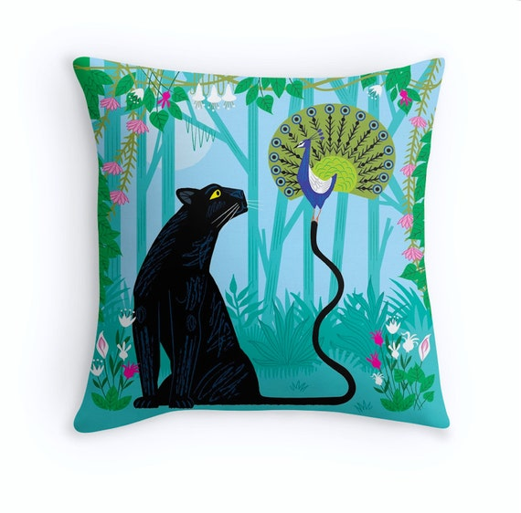"The Peacock and The Panther - Throw Pillow / Cushion Cover - Children's Decor - Kids room - Nursery Decor - (16"" x 16"") iOTA iLLUSTRATION"
