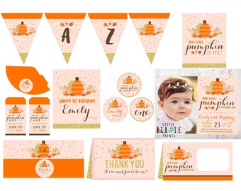 Gold Pumpkin Birthday Invitation Pumpkin First Birthday Invitation, Pink and Gold Pumpkin Invitation Cupcake Toppers Banner signs printables