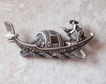 Silver Marcasite Gondola Pin Brooch 3D Venice Italy Souvenir Vintage AT0173