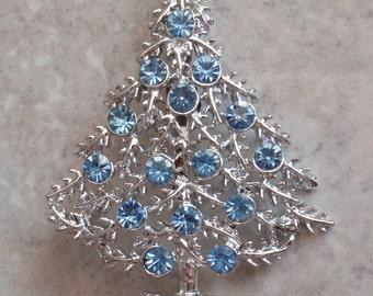 Blue Christmas Tree Brooch Pin BJ Beatrix Silver Tone Holiday Vintage V0913