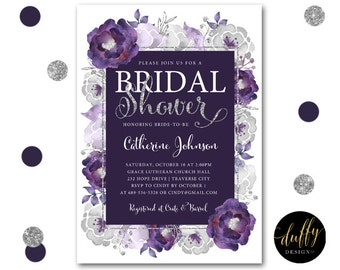 Bridal Shower Invitation, Purple Bridal Shower Invite, Bridal Shower Invite, Floral Shower Invite, Wedding Shower Invite, 5x7 Printable