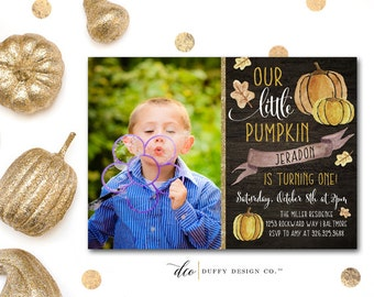 Our Little Pumpkin Birthday Invitation, First Birthday Invite, Pumpkin Patch Invitation, Birthday Invitation, Fall Birthday Photocard, 5x7