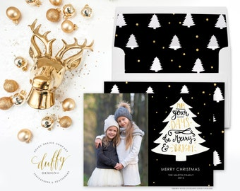 Merry and Bright Holiday Photo Card, Christmas Photo Card, Photo Christmas Card, Holiday Card, Black Gold Card 5x7 Holiday Card - TWO SIDED