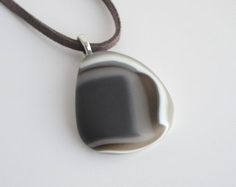 Pebble Pendant, smooth grey fused glass pebble necklace, statement jewellery